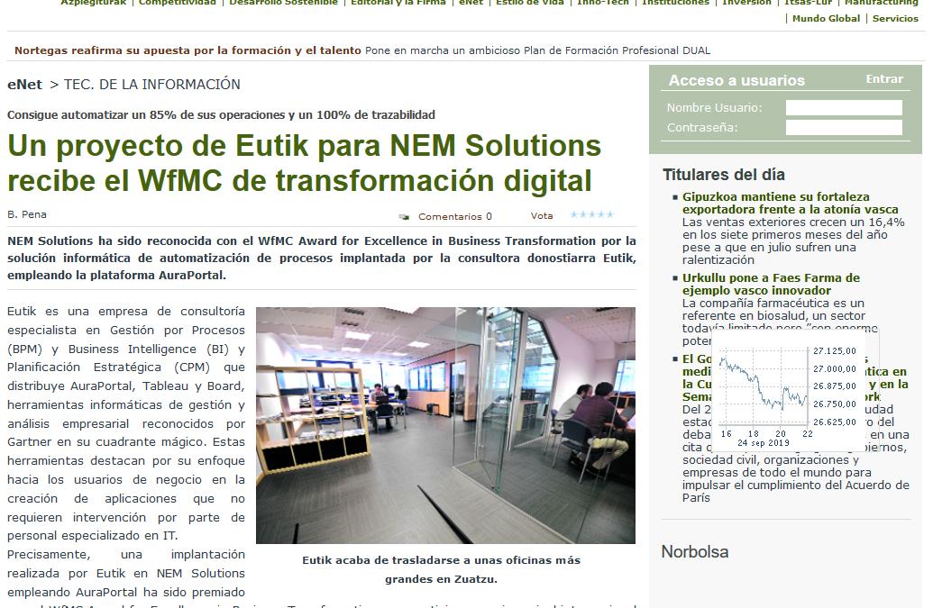 Estrategia Empresarial destaca que un proyecto de Eutik de transformación digital ha sido premiado