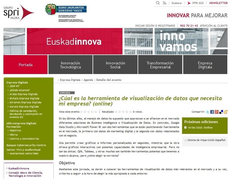 Webinar SPRI Visualización de datos con participación de Eutik